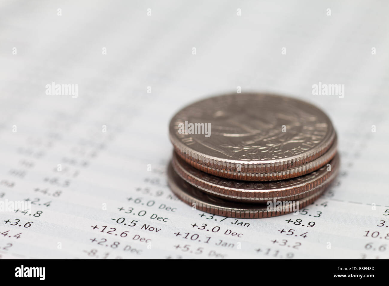 US coins on stock market data - Stock Image