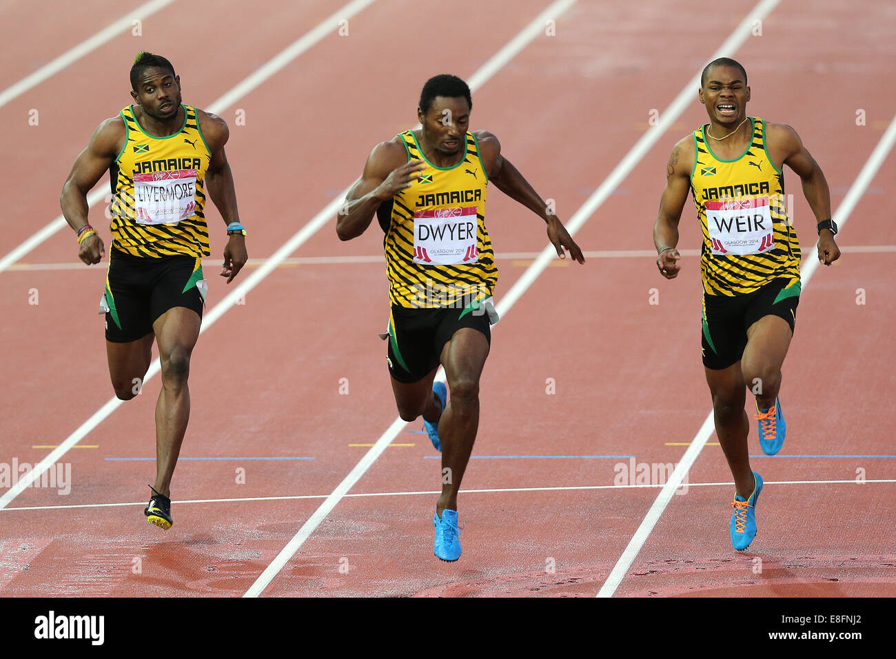 Clean Sweep for Jamaica! Rasheed Dwyer (JAM) wins the Gold Medal. Warren Weir(JAM) Silver Medal and Jason Livermore - Stock Image