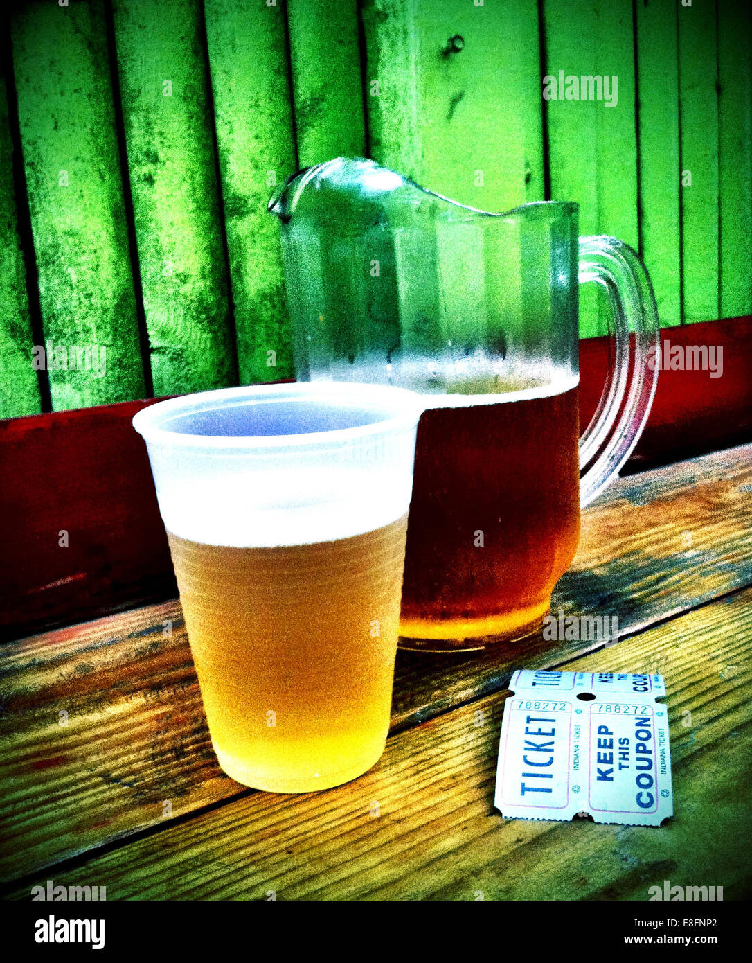USA, New York State, New York City, Brooklyn, Beer in jug and disposable cup - Stock Image
