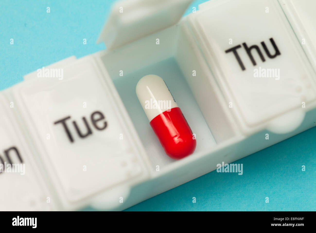 Close up of weekly pill box - Stock Image