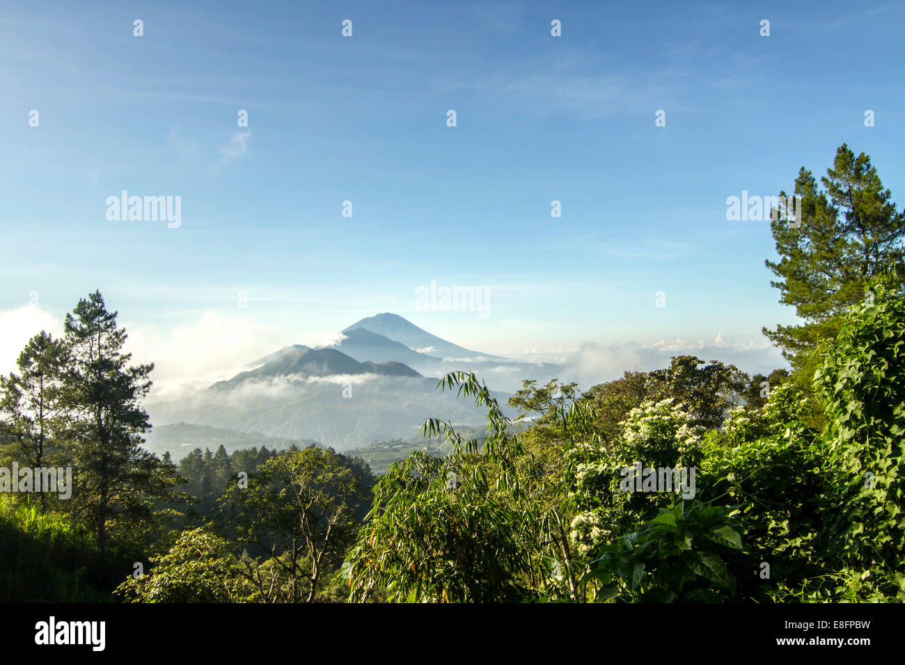 Indonesia, Bali, View of Mt Agung and Mt Batur - Stock Image