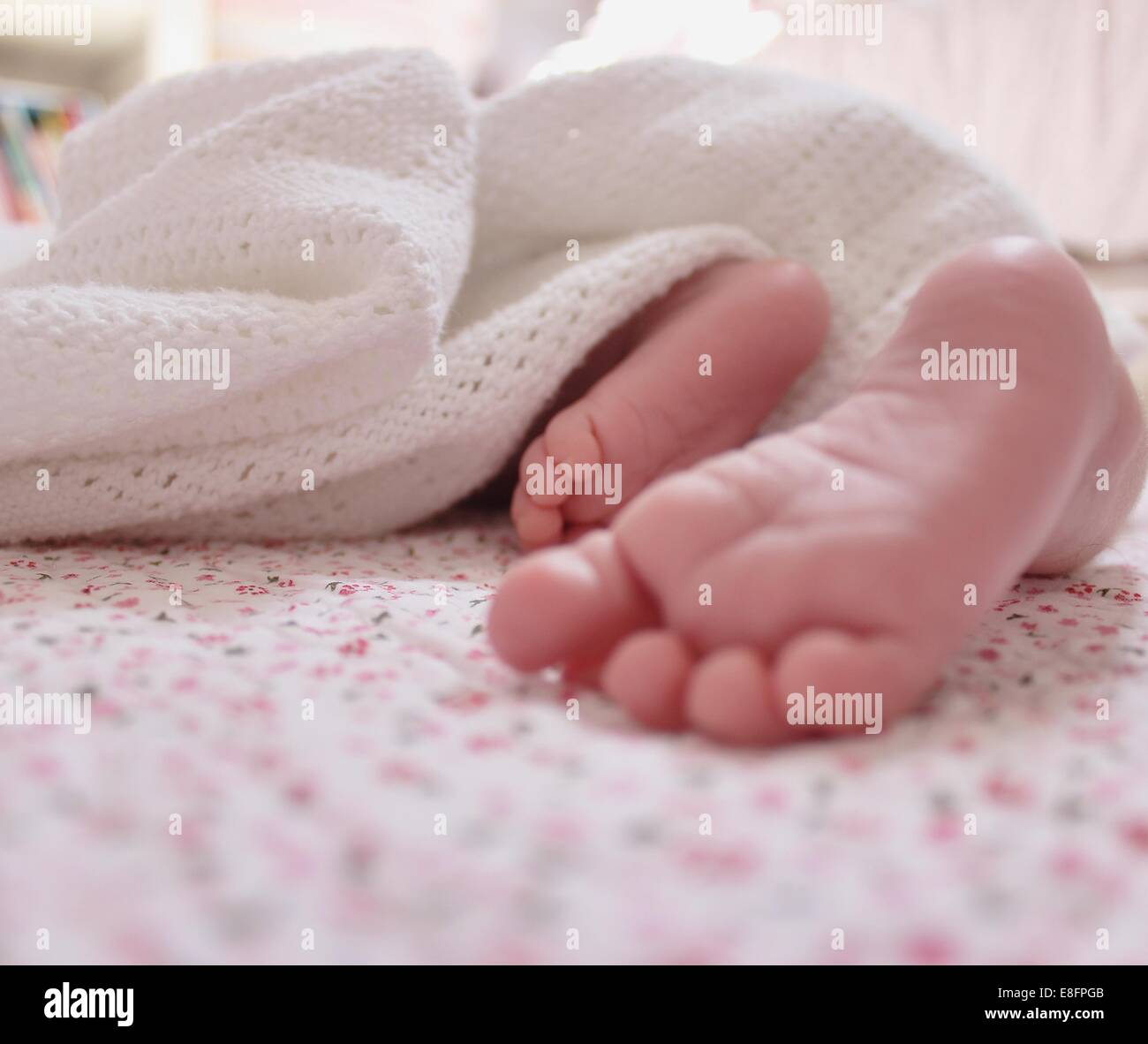 Close-up of baby girl's feet - Stock Image