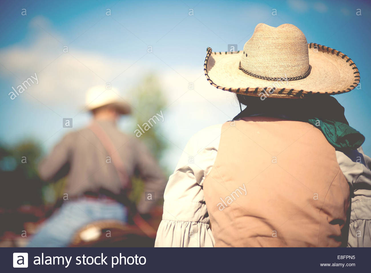 USA, Connecticut, Rear view of people horseback riding - Stock Image