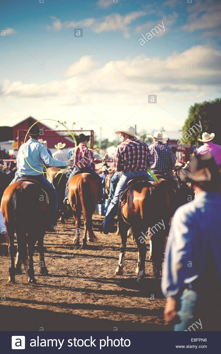 USA, Connecticut, Modern day cowboys on horseback at rodeo - Stock Image