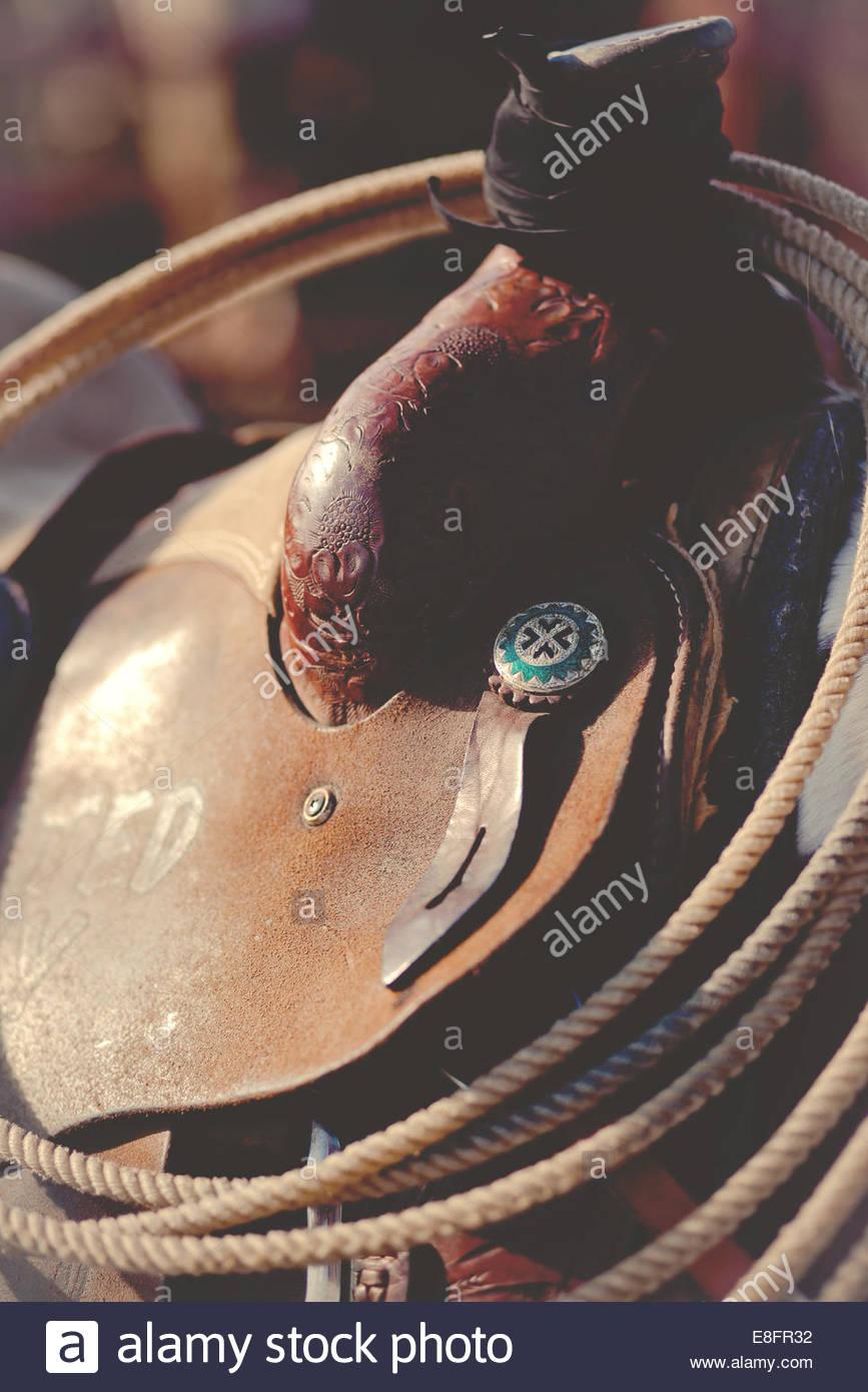 Close-up of lasso on horse saddle - Stock Image