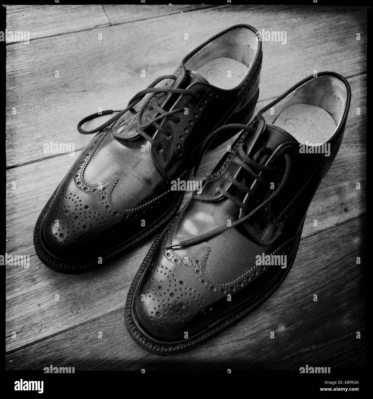 Pair of classic English brogue shoes - Stock Image