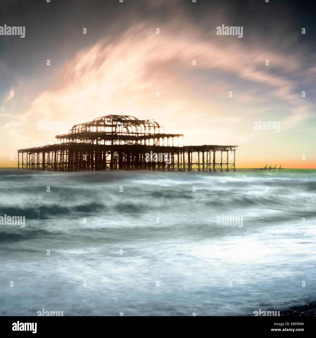 United Kingdom, Brighton, View of West Pier - Stock Image