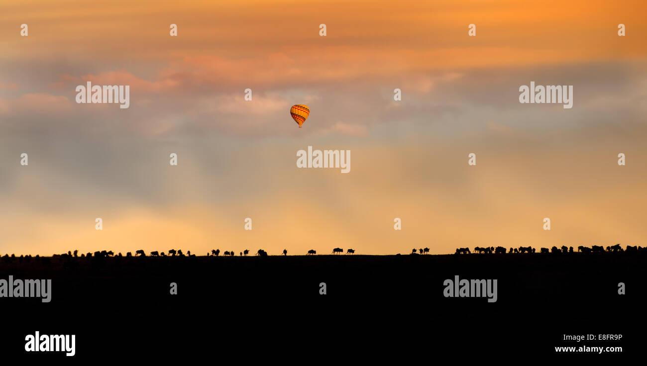 Africa, Hot Air Balloon Over African Plain Stock Photo