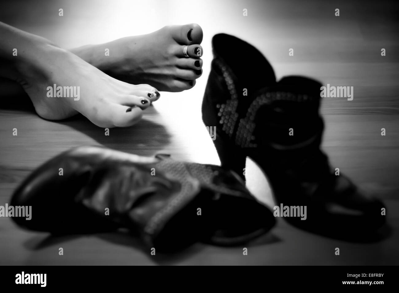 USA, Louisiana, Orleans Parish, New Orleans, Bare feet and shoes - Stock Image