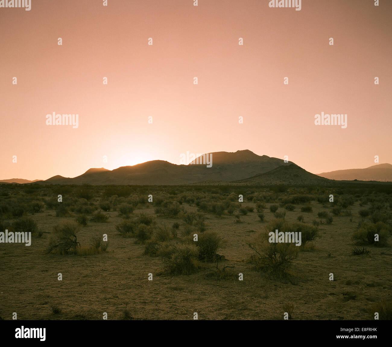USA, California, Sunset in Mojave desert - Stock Image
