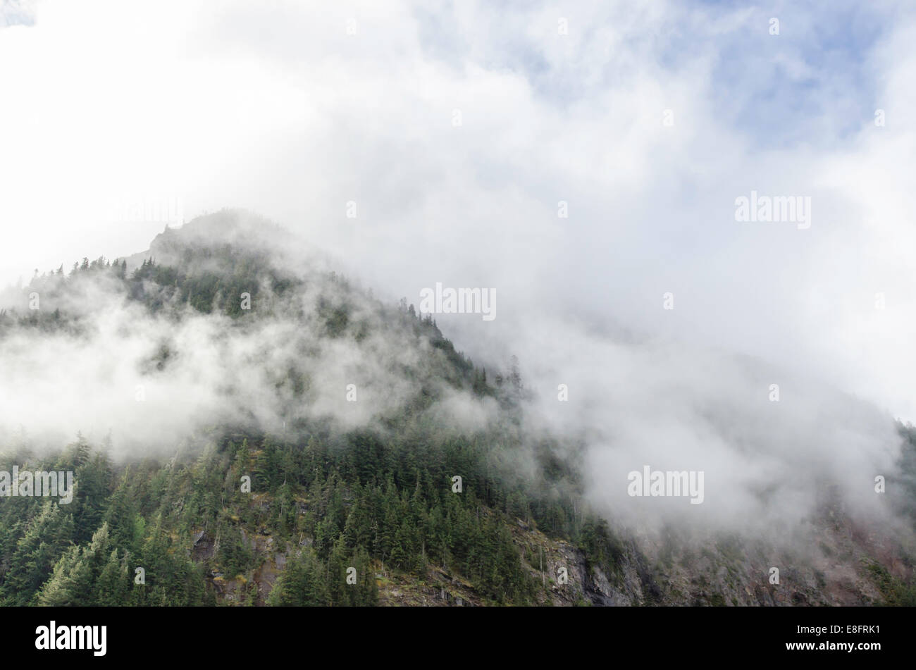 USA, Washington State, Mount Rainier National Park, Low clouds across mountain peak - Stock Image