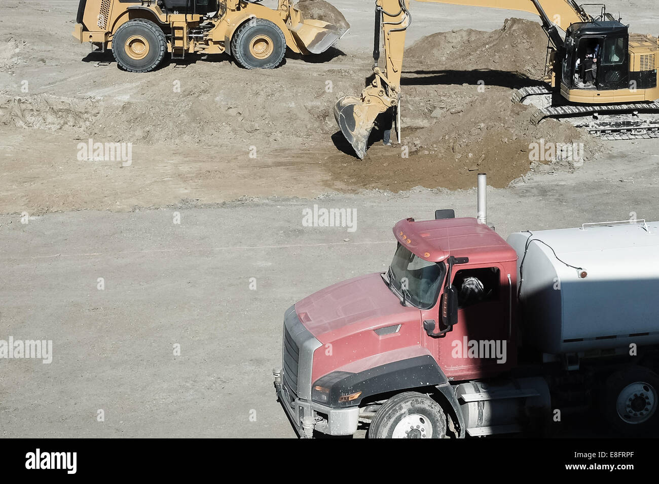 Construction equipment at construction site - Stock Image