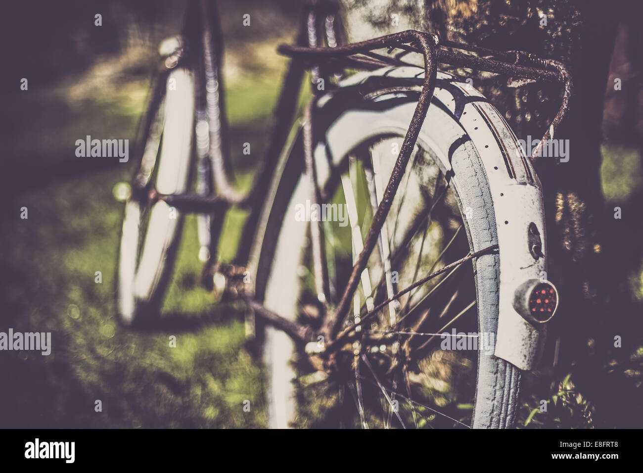 Norway, Close-up of old bicycle - Stock Image