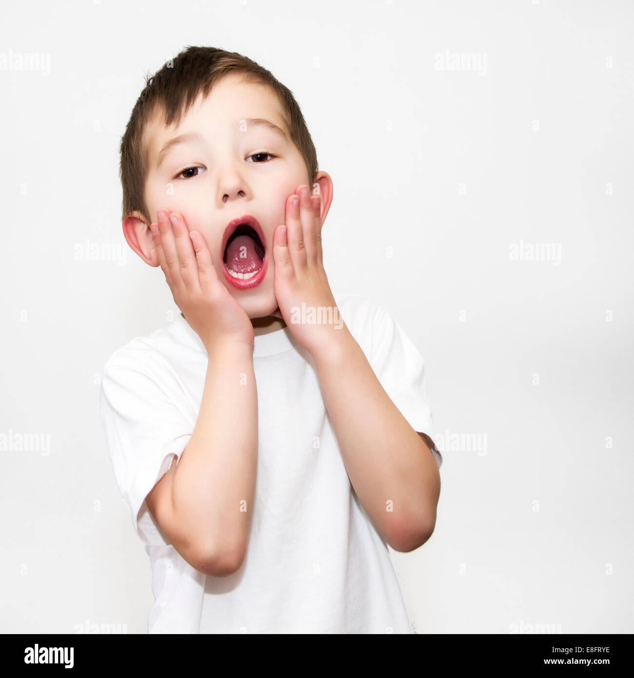 Boy doing home alone pose Stock Photo