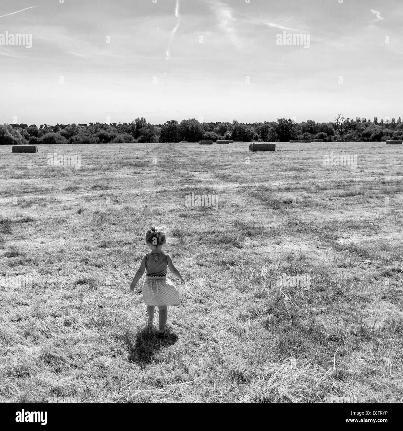 Rear view of girl in field - Stock Image