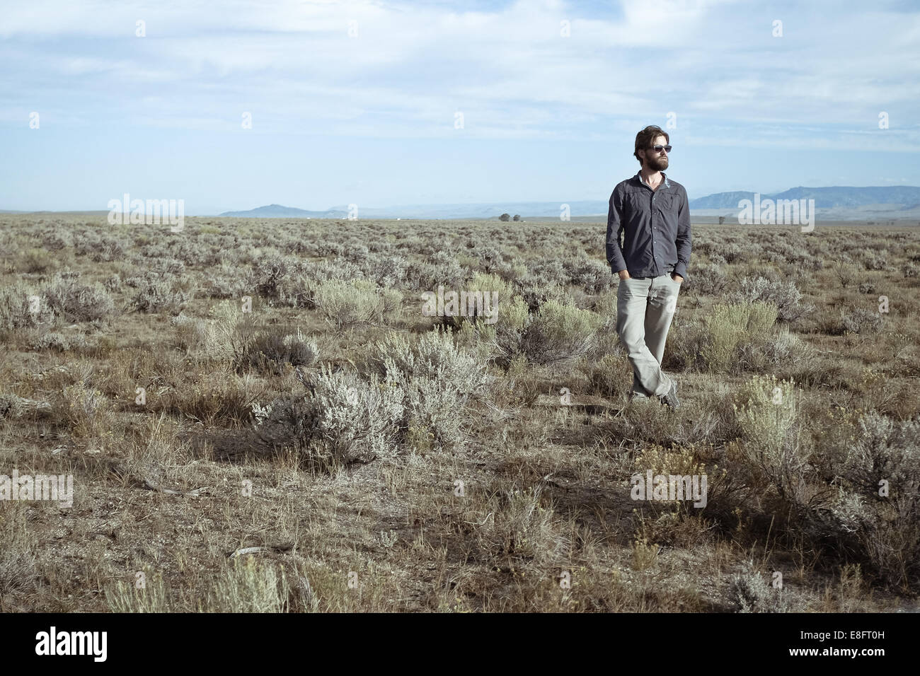 USA, Man standing in sagebrush Stock Photo