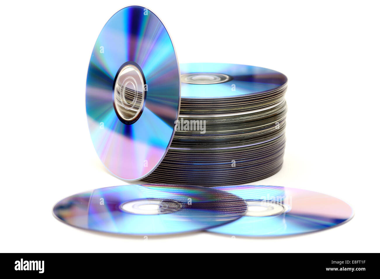 DVD or Blu-ray disc heap against white background. - Stock Image