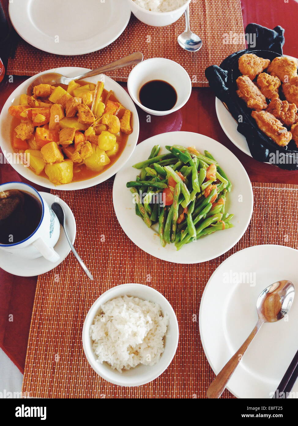 Vietnam, Lao Cai Province, Sa Pa, Local dishes served in hotel - Stock Image