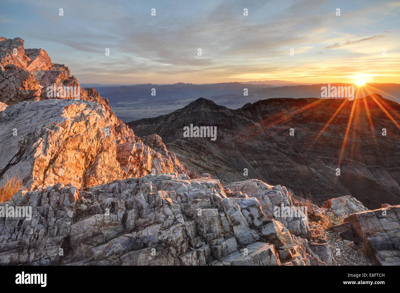 USA, California, Death Valley National Park, Sunrise at Aguereberry Point - Stock Image