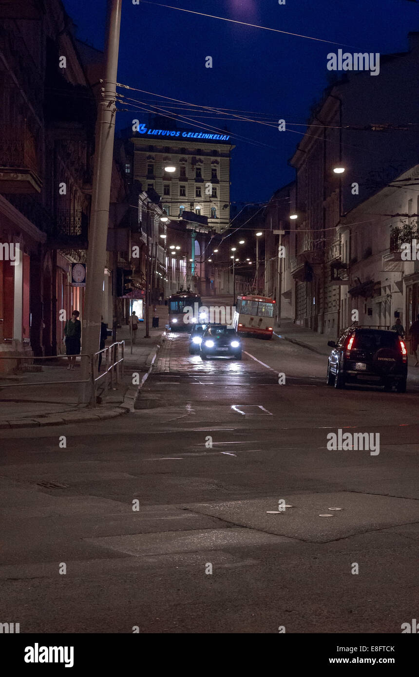 Vilnius by night - Stock Image