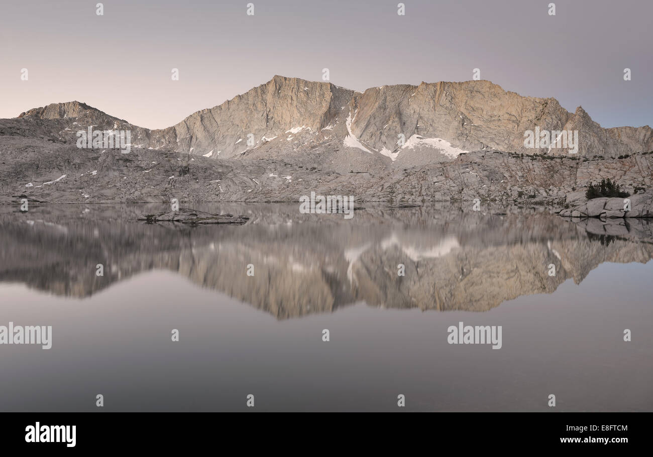 USA, California, Sierra National Forest, Reflections in 'Hell For Sure' Lake - Stock Image