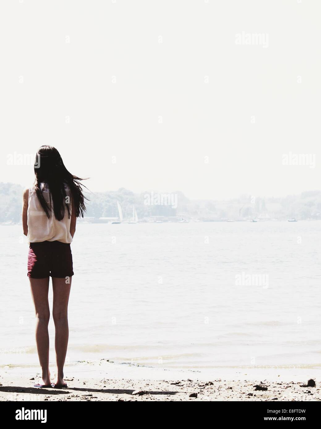 Rear view of teenage girl standing on beach looking at view - Stock Image