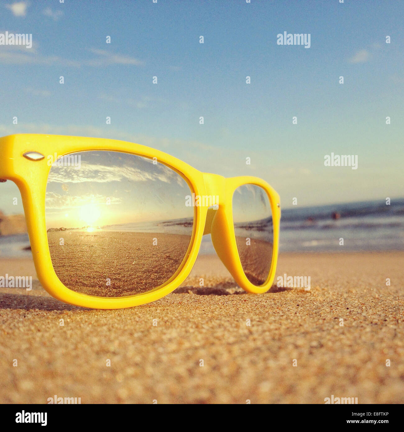 Beach reflection in sunglasses - Stock Image