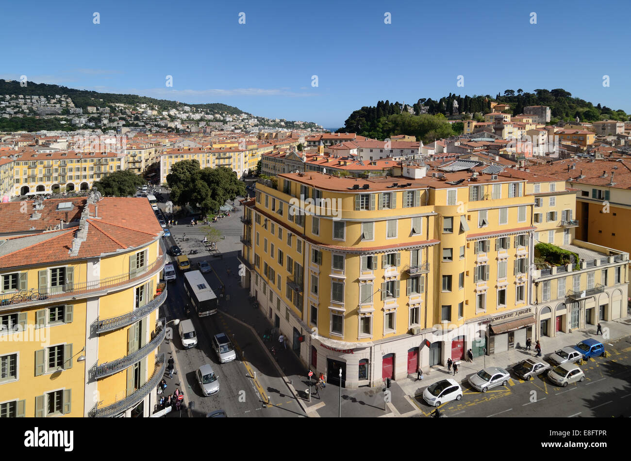 Panoramic View of the Old Town with the Place Garibaldi or Garibaldi Square & Site of Medieval Castle Nice Alpes Stock Photo
