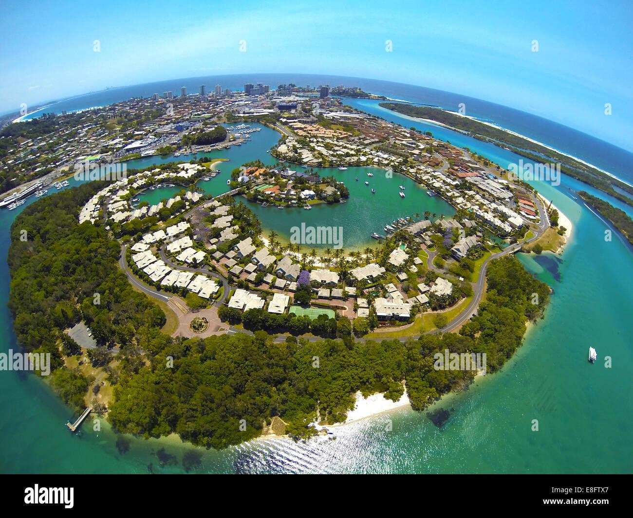 Australia, Greenbank, Aerial view of Terranora Creek - Stock Image