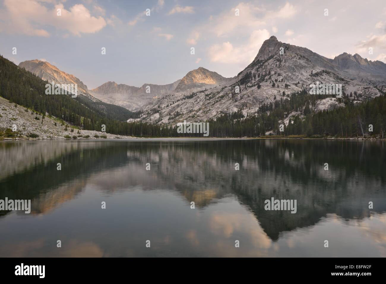 USA, California, Kings Canyon National Park, Reflections in East Lake - Stock Image