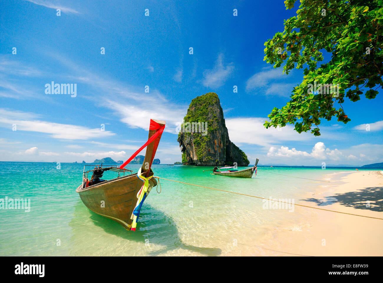 Thailand, Krabi, Boats on shore - Stock Image