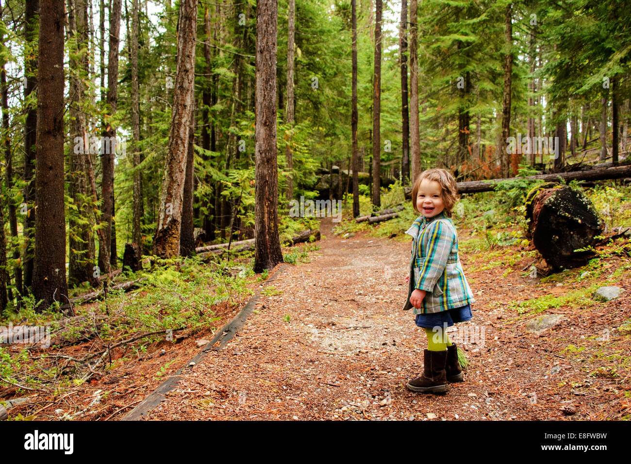 Girl in forest (2-3 years) - Stock Image