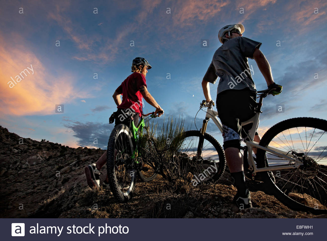 Bikers enjoying evening sky - Stock Image
