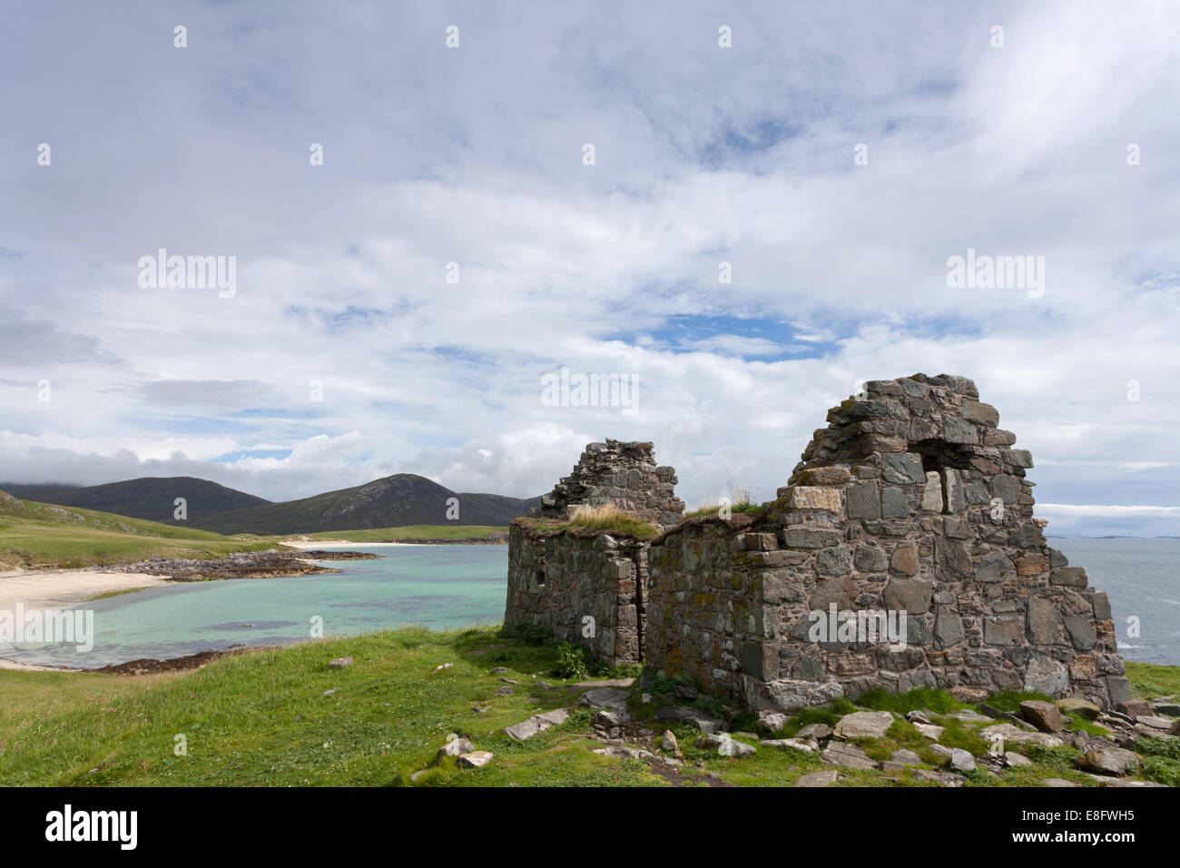 Toe Head ruined Chapel Harris, Outer Hebrides, Scotland - Stock Image