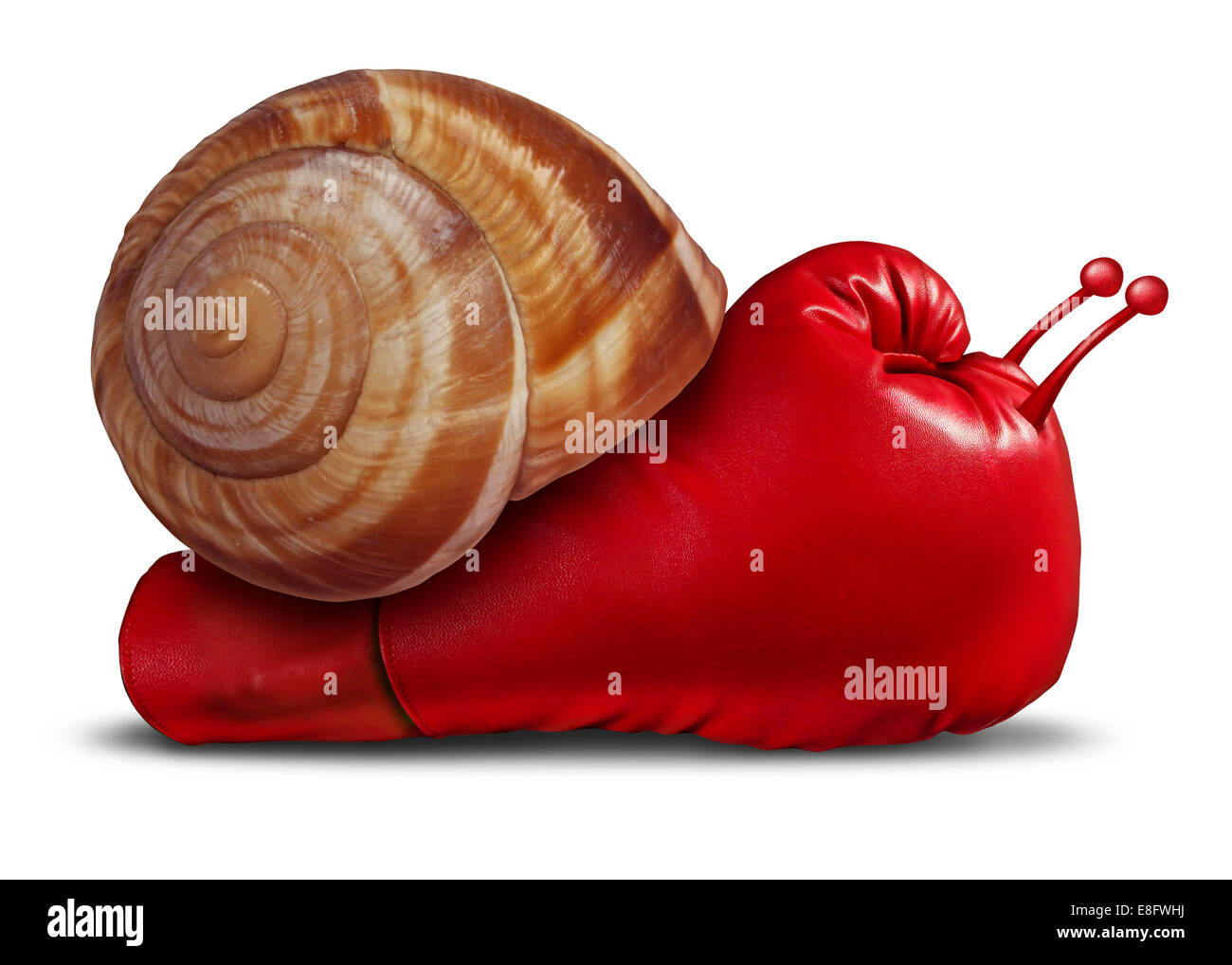 Business patience noncompetitive crisis and inferior competitive skill as a red boxing glove shaped as a snail in - Stock Image