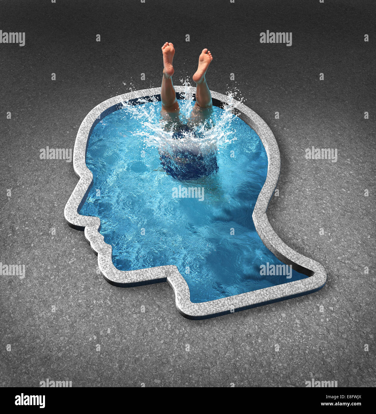 Deep thinking and soul searching concept with a person diving into a swimming pool shaped as a human face as a symbol - Stock Image