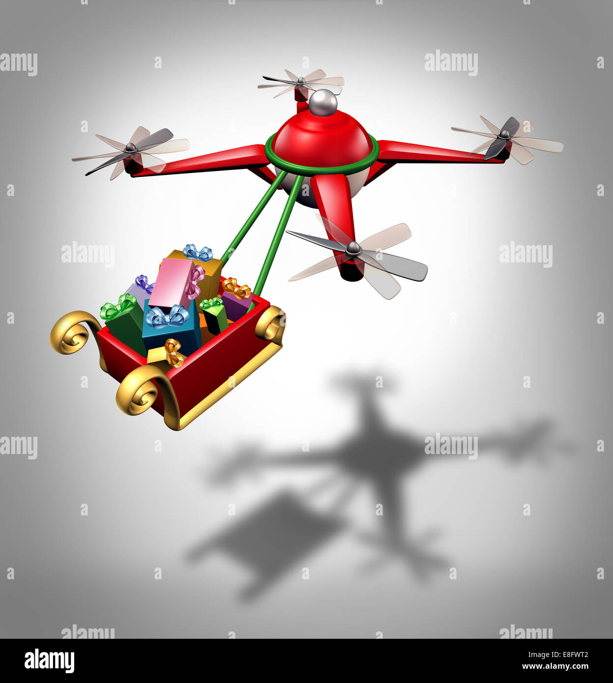 Drone holiday gifts delivery as a christmas sled concept transporting presents with a santa clause flying quadrocopter - Stock Image