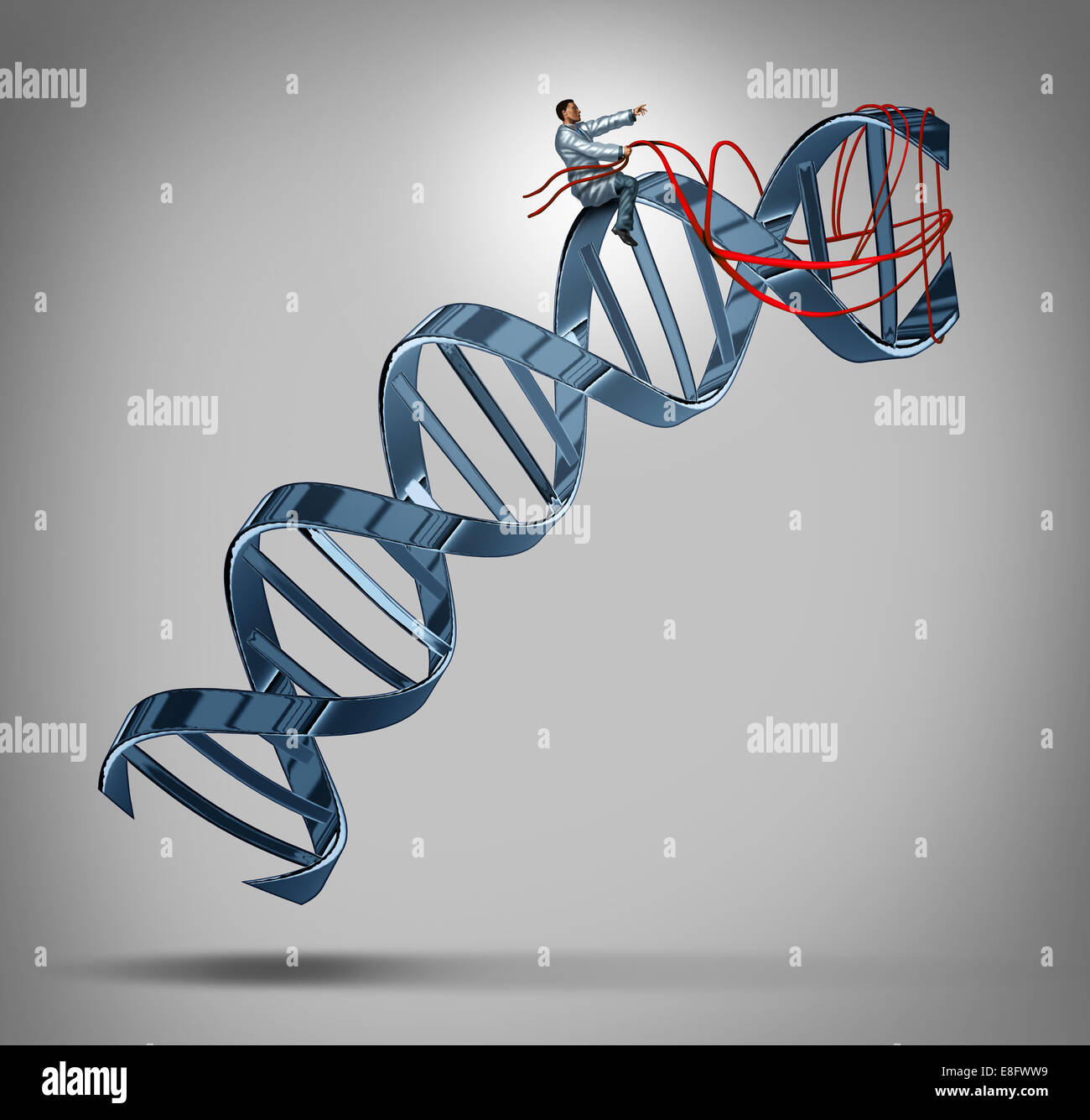 Genetic engineering and gene modification medical science concept as a doctor or researcher scientist guiding a - Stock Image