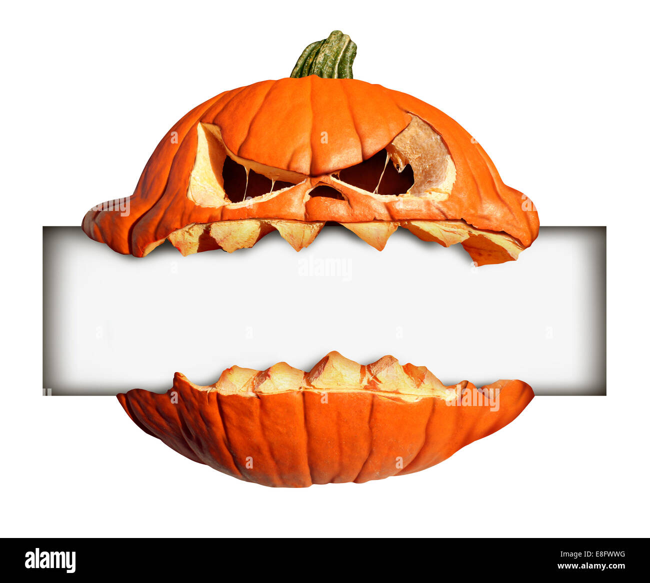 Halloween blank sign as a pumpkin character with human expression biting into and holding a blank banner with jack - Stock Image