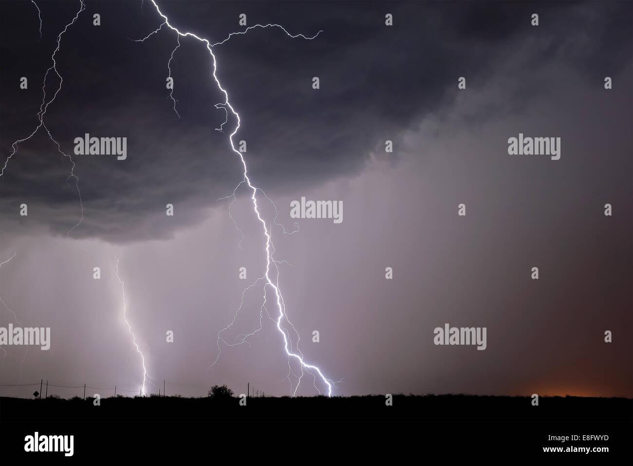 USA, Arizona, Lightning bolts striking near Highway 80 - Stock Image