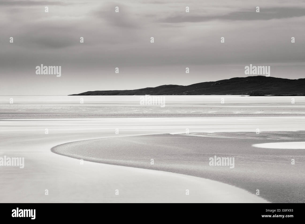 Curves in the sand Luskentyre Harris - Stock Image