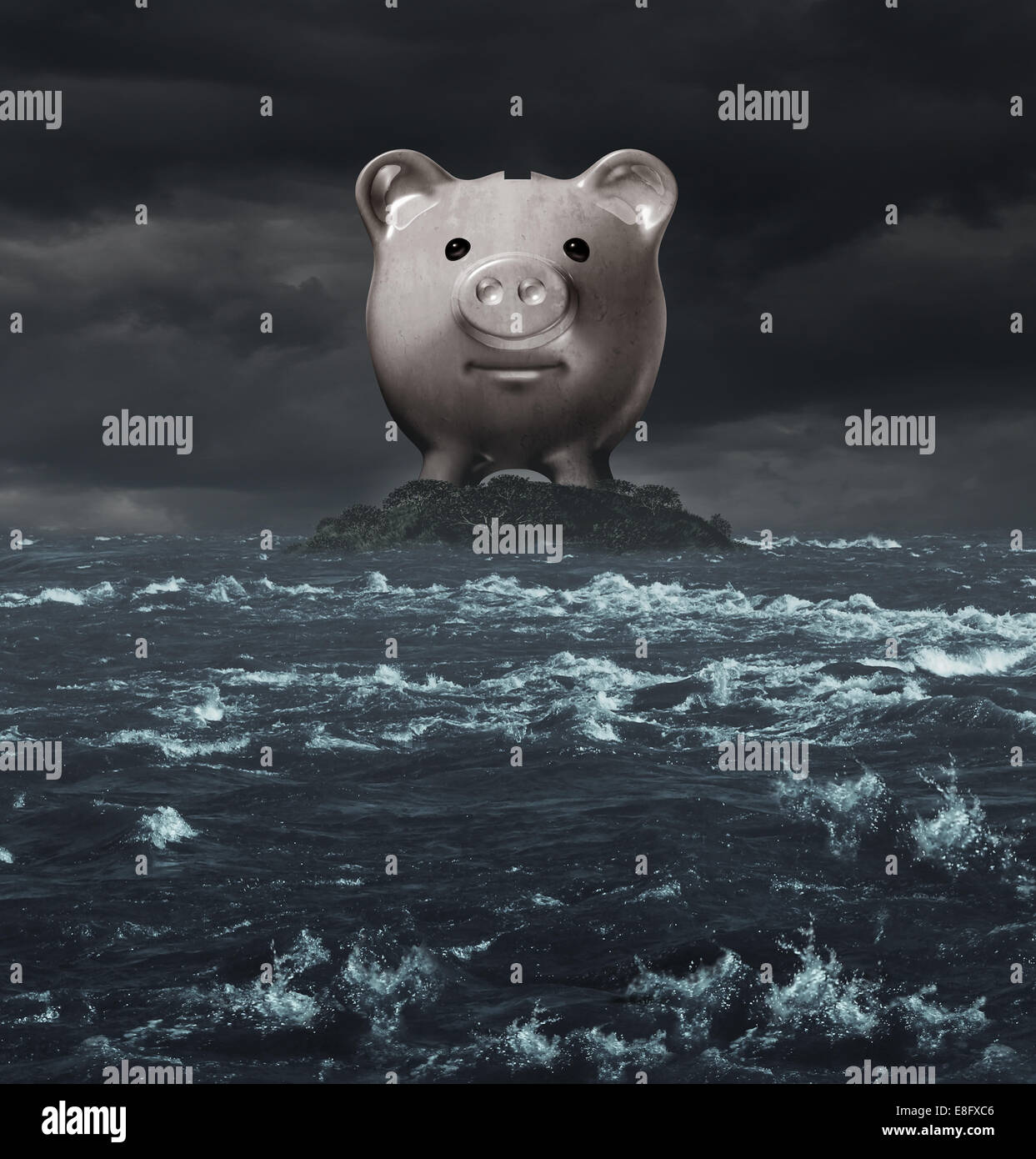 Offshore account and overseas banking concept as a tax haven symbol as a piggy bank on an island surounded by a - Stock Image