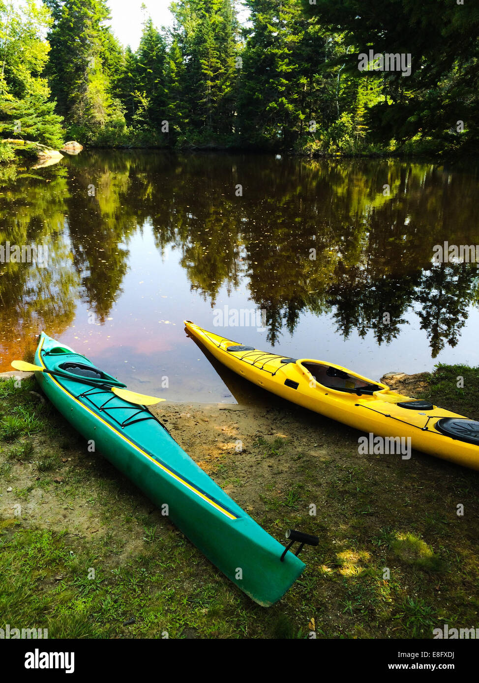 USA, Maine, Kayaks - Stock Image
