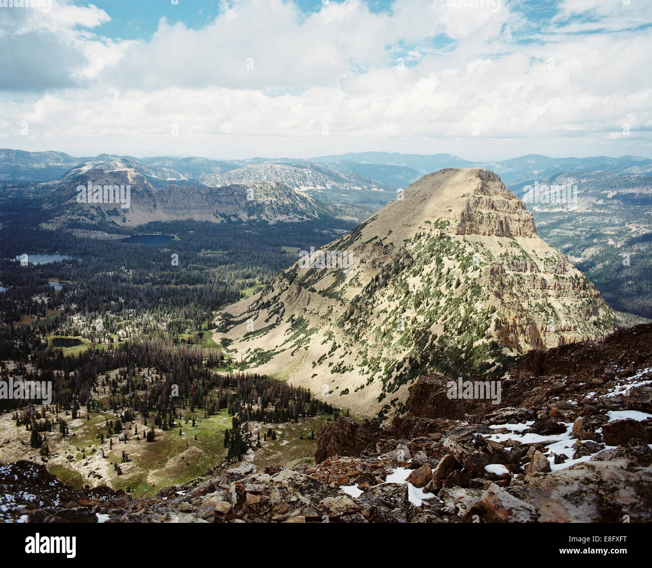 USA, Utah, Aerial view of mountains and valleys from Bald Mountain Stock Photo
