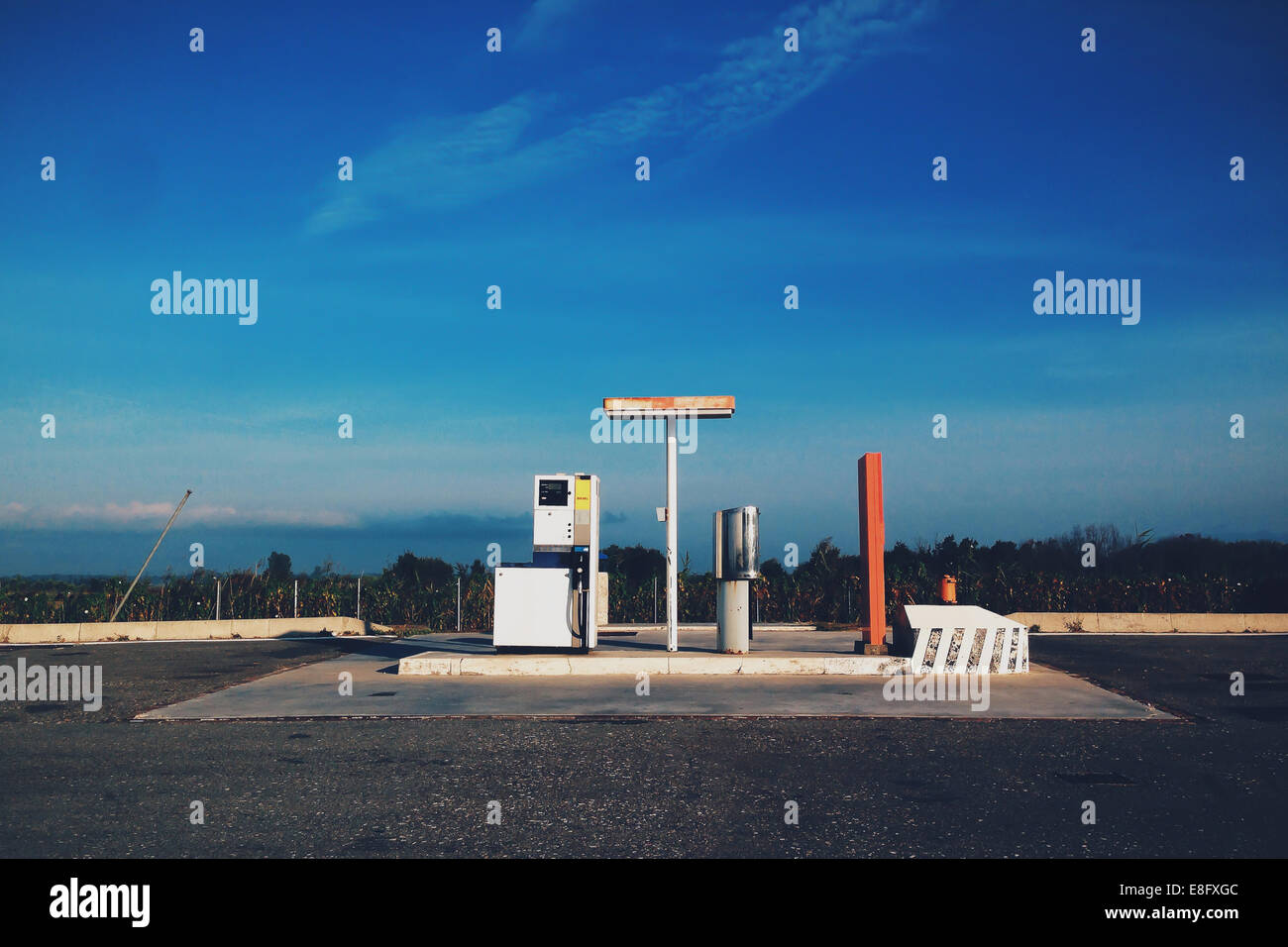 Italy, Isolated gas station - Stock Image