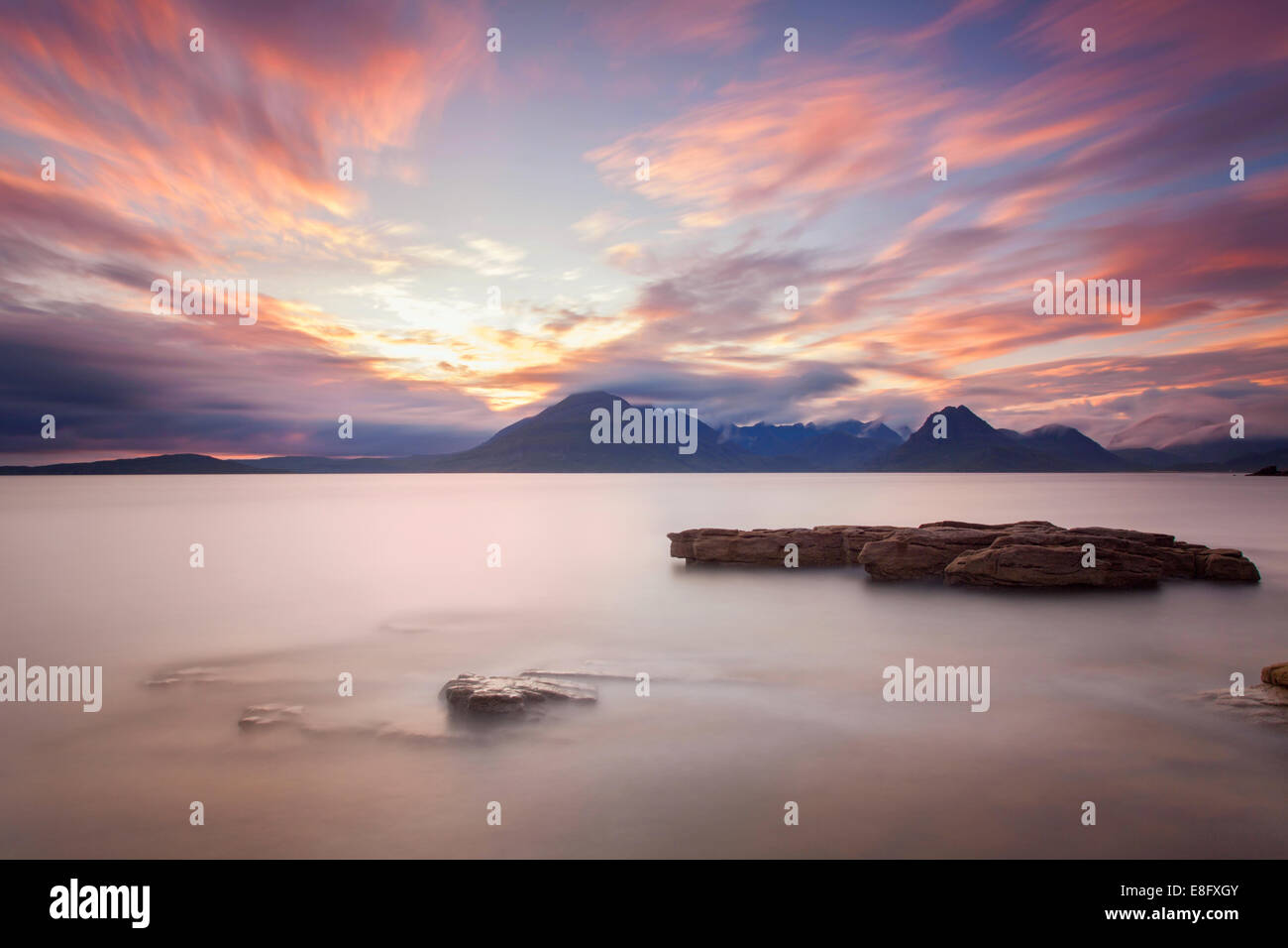 Sunset Elgol Isle of Skye looking across to the Black Cuillin Scotland - Stock Image