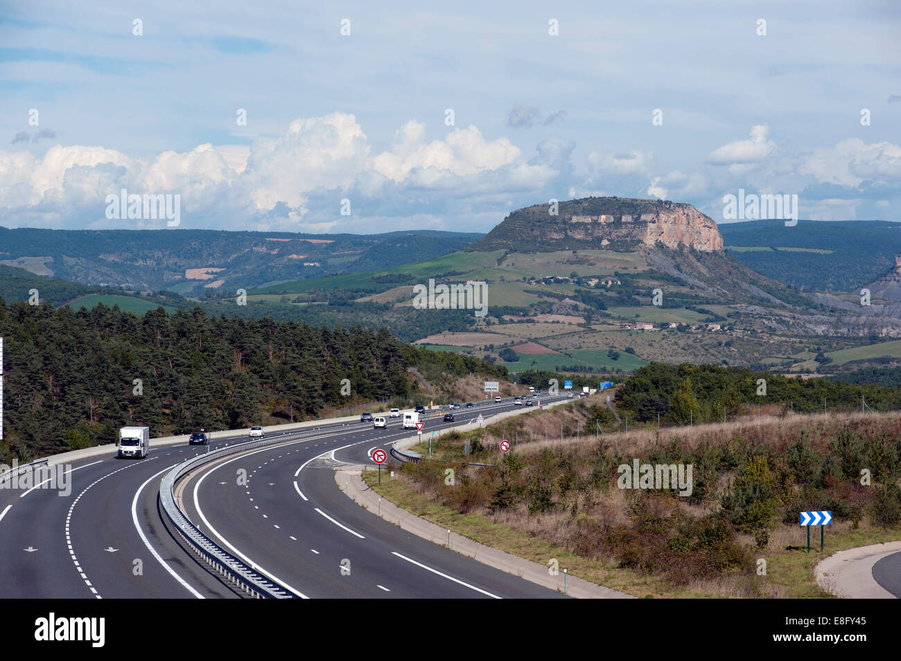 France A75 Autoroute Looking North Towards Volcanic Plug In Gorges Du Tarn Area Of
