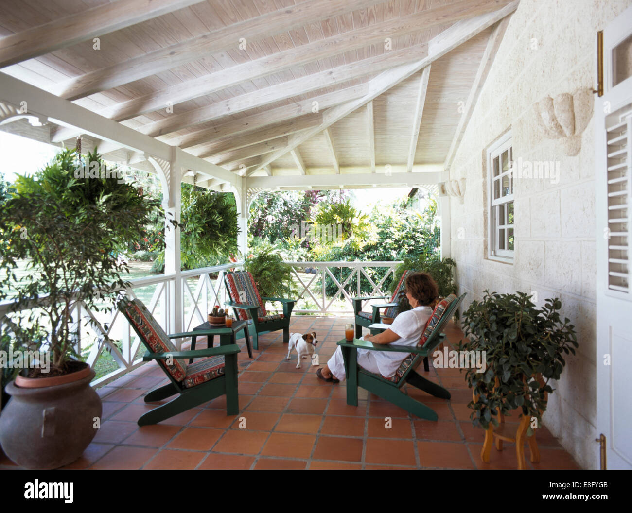Woman and small dog on the veranda of a Caribbean house - Stock Image