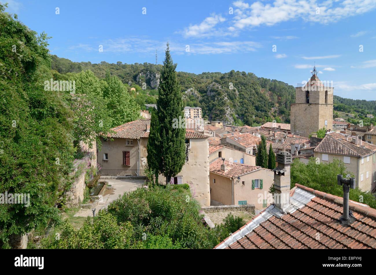 View over Provençal Village of Barjols Var Provence France - Stock Image