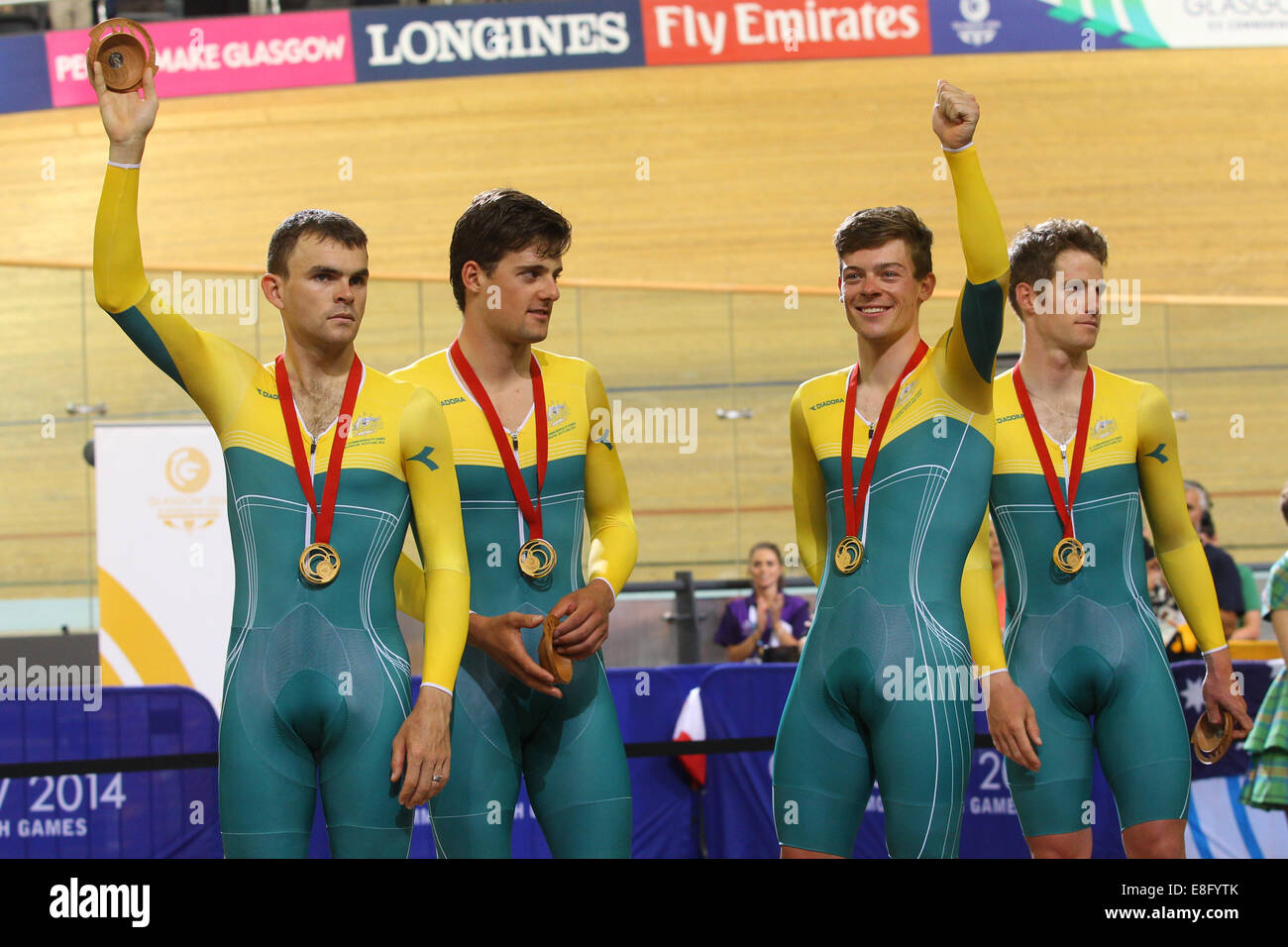 Australia with their gold medals. The Medal Cermony.  Luke Bobridge, Luke Davison, Alex Edmondson and Glenn O'Shea - Stock Image
